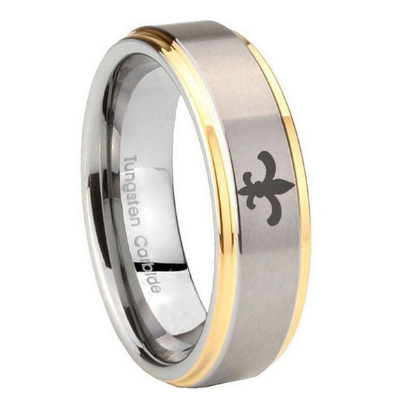 10mm Fleur De Lis Step Edges Gold 2 Tone Tungsten Carbide Men's Bands Ring
