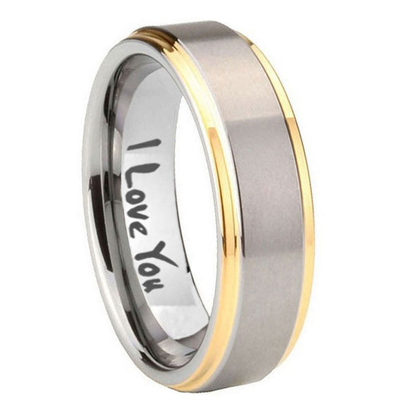 8mm I Love You Step Edges Gold 2 Tone Tungsten Carbide Mens Promise Ring