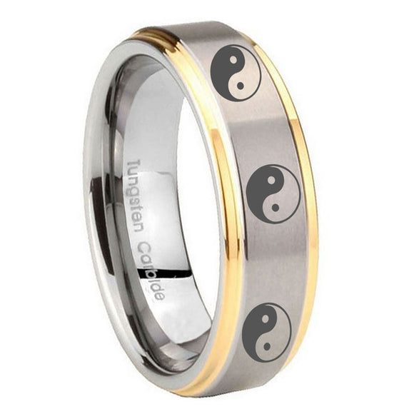 8mm Multiple Yin Yang Step Edges Gold 2 Tone Tungsten Carbide Wedding Band Mens