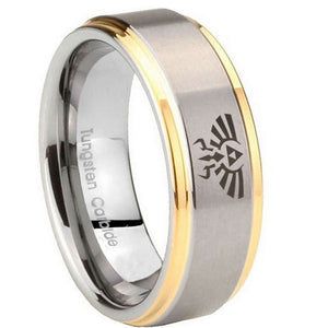 8mm Zelda Skyward Sword Step Edges Gold 2 Tone Tungsten Mens Wedding Ring