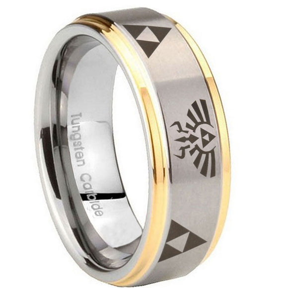 10mm Legend of Zelda Step Edges Gold 2 Tone Tungsten Carbide Mens Promise Ring