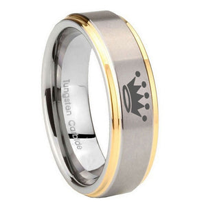 10mm Crown Step Edges Gold 2 Tone Tungsten Carbide Custom Ring for Men
