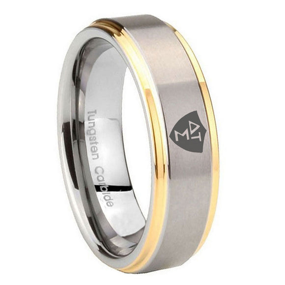10mm Greek CTR Step Edges Gold 2 Tone Tungsten Carbide Mens Bands Ring