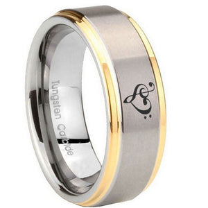 10mm Music & Heart Step Edges Gold 2 Tone Tungsten Carbide Engagement Ring