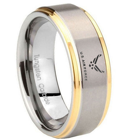 8MM Step Edges US Air Force 14K Gold IP Tungsten 2 Tone Laser Engraved Ring