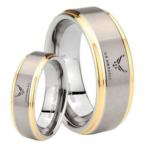 His Hers Step Edge US Air Force 14K Gold 2 Tone Tungsten Wedding Rings Set