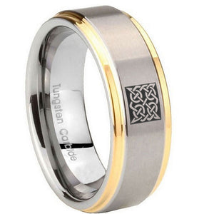 10mm Celtic Design Step Edges Gold 2 Tone Tungsten Carbide Mens Engagement Ring