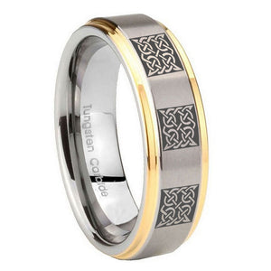 8mm Multiple Celtic Step Edges Gold 2 Tone Tungsten Carbide Mens Promise Ring