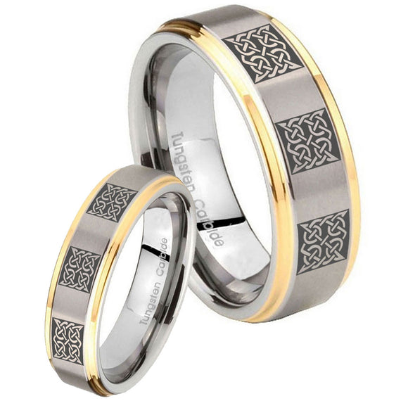His Hers Multiple Celtic Step Edges Gold 2 Tone Tungsten Men's Band Set