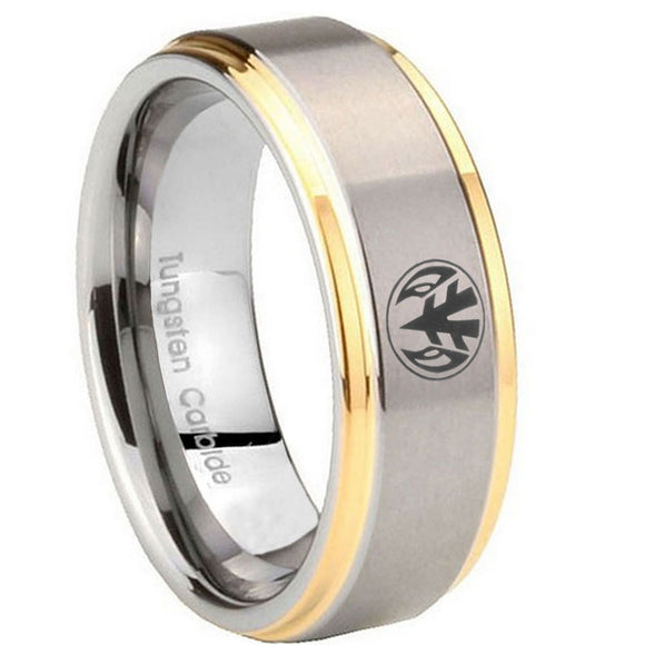 8mm Love Power Rangers Step Edges Gold 2 Tone Tungsten Men's Promise Rings