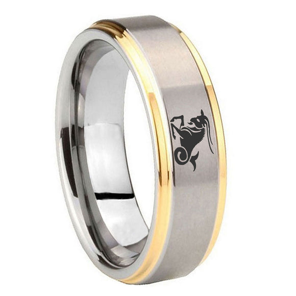 10mm Capricorn Zodiac Step Edges Gold 2 Tone Tungsten Mens Ring Engraved