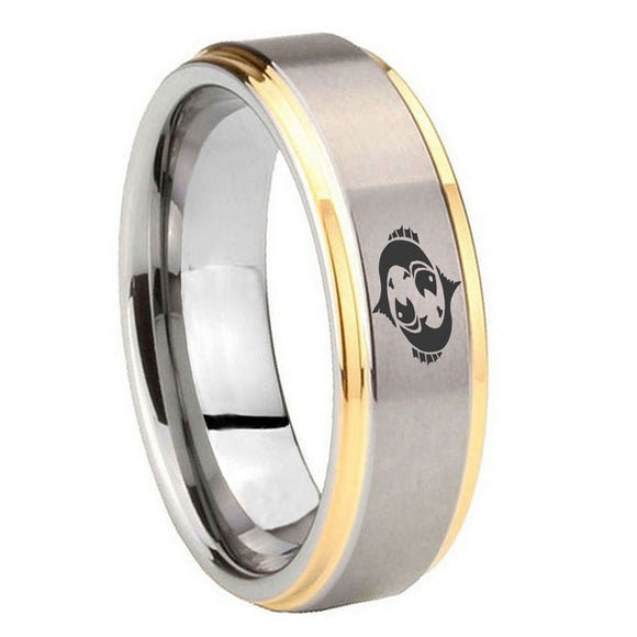10mm Pisces Zodiac Horoscope Step Edges Gold 2 Tone Tungsten Mens Wedding Ring