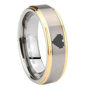 10MM Step Edges Zelda Heart 14K Gold IP Tungsten Two Tone Men's Ring