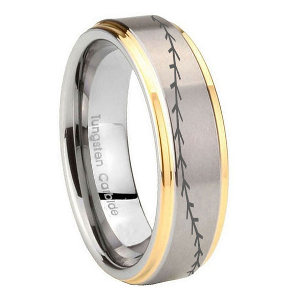 8mm Baseball Stitch Step Edges Gold 2 Tone Tungsten Carbide Wedding Band Ring