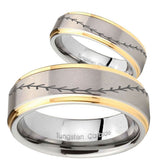 His Hers Baseball Stitch Step Edges Gold 2 Tone Tungsten Men's Ring Set