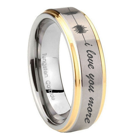 10mm Sound Wave I love you more Step Edges Gold 2 Tone Tungsten Men's Ring