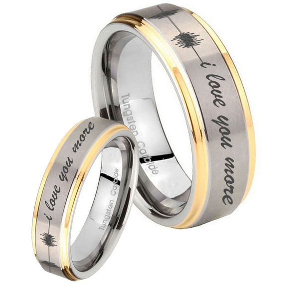 His Hers Sound Wave, I love you more Step Edges Gold 2 Tone Tungsten Men Rings Set