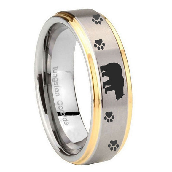 10mm Bear and Paw Step Edges Gold 2 Tone Tungsten Carbide Engagement Ring