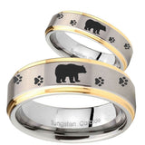 His Hers Bear and Paw Step Edges Gold 2 Tone Tungsten Mens Wedding Ring Set