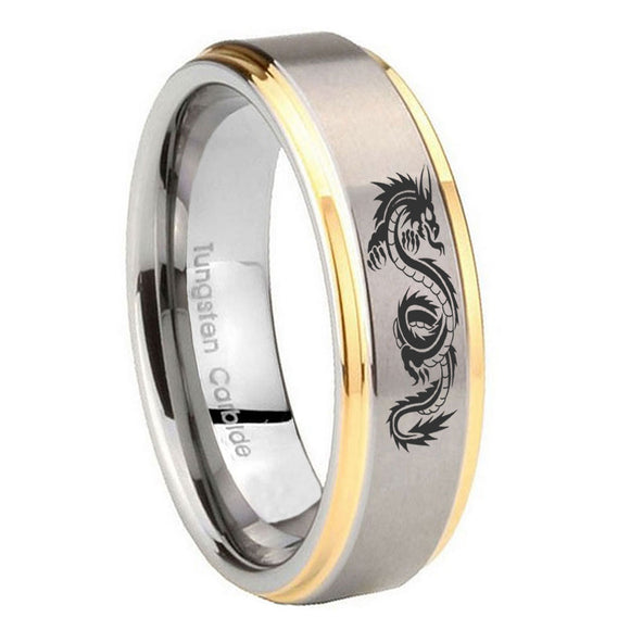 8mm Dragon Step Edges Gold 2 Tone Tungsten Carbide Mens Engagement Band