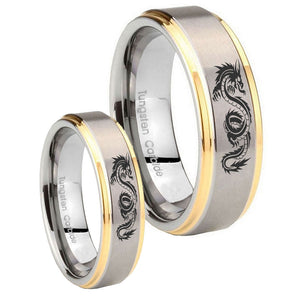 Bride and Groom Dragon Step Edges Gold 2 Tone Tungsten Wedding Band Mens Set