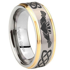 8mm Irish Claddagh Step Edges Gold 2 Tone Tungsten Carbide Men's Band Ring