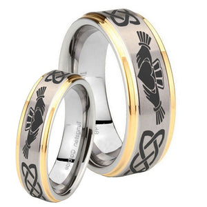 His and Hers Irish Claddagh Step Edges Gold 2 Tone Tungsten Engagement Ring Set