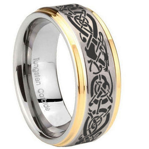 10mm Celtic Knot Dragon Step Edges Gold 2 Tone Tungsten Carbide Mens Ring