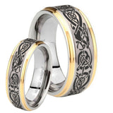 His Hers Celtic Knot Dragon Step Edges Gold 2 Tone Tungsten Mens Bands Ring Set