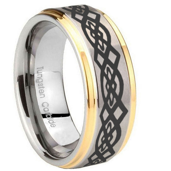 8mm Celtic Knot Step Edges Gold 2 Tone Tungsten Carbide Men's Bands Ring