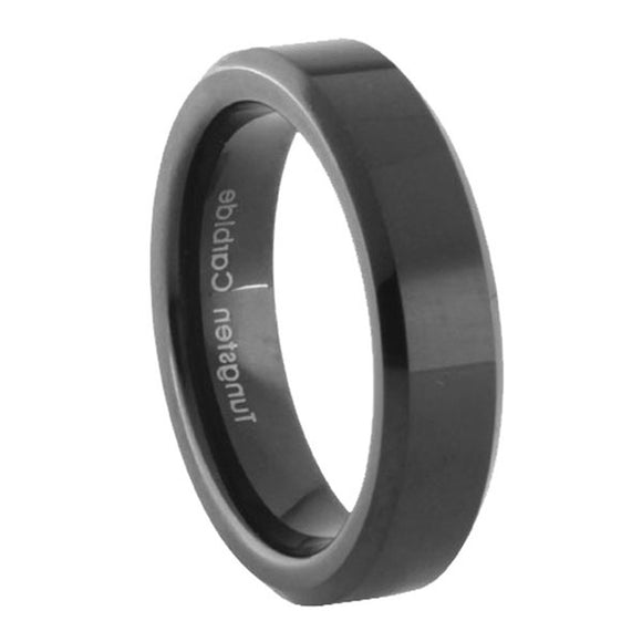 5MM Black Tungsten Carbide Beveled Edges Women Bands Ring