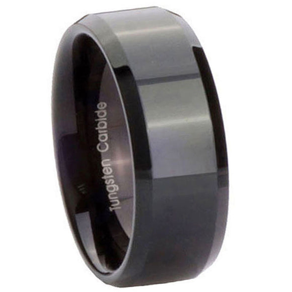 8MM Glossy Black Tungsten Carbide Beveled Edges Men Bands Ring
