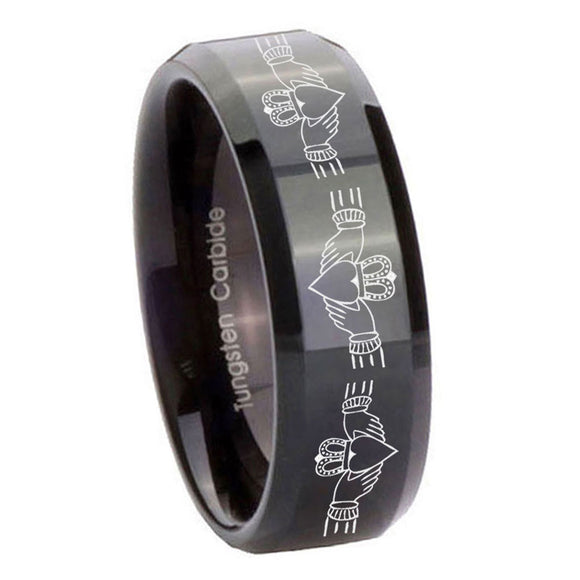 10mm Irish Claddagh Beveled Edges Black Tungsten Carbide Promise Ring