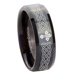 10mm Celtic Cross Beveled Edges Black Tungsten Carbide Anniversary Ring