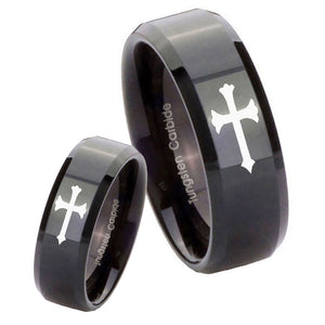 His Hers Christian Cross Beveled Edges Black Tungsten Mens Engagement Band Set