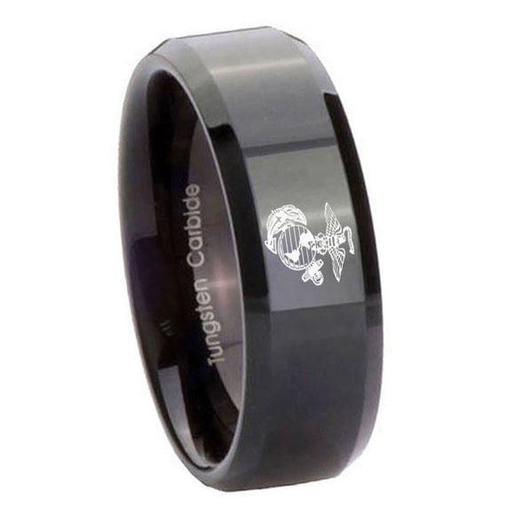 10mm Marine Beveled Edges Black Tungsten Carbide Rings for Men