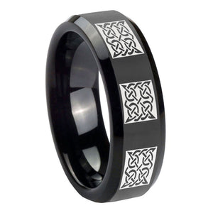 10mm Multiple Celtic Beveled Edges Black Tungsten Carbide Mens Anniversary Ring