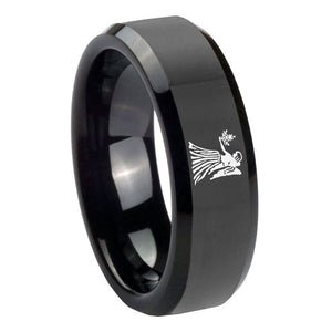 10mm Virgo Zodiac Horoscope Beveled Edges Black Tungsten Men's Wedding Band