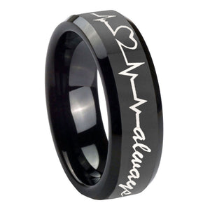 10mm Heart Beat forever Heart always Beveled Black Tungsten Wedding Band Mens