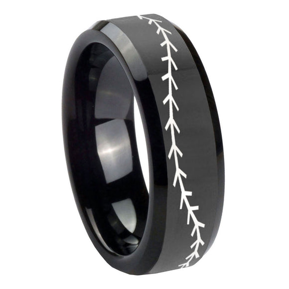 10mm Baseball Stitch Beveled Edges Black Tungsten Carbide Bands Ring