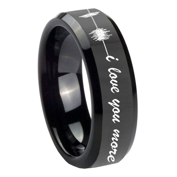 10mm Sound Wave, I love you more Beveled Black Tungsten Custom Ring for Men