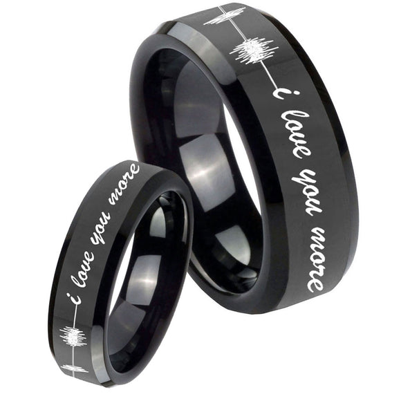 His Hers Sound Wave, I love you more Beveled Black Tungsten Men's Bands Ring Set