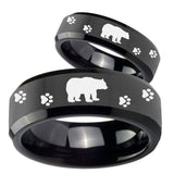 Bride and Groom Bear and Paw Beveled Edges Black Tungsten Mens Ring Set