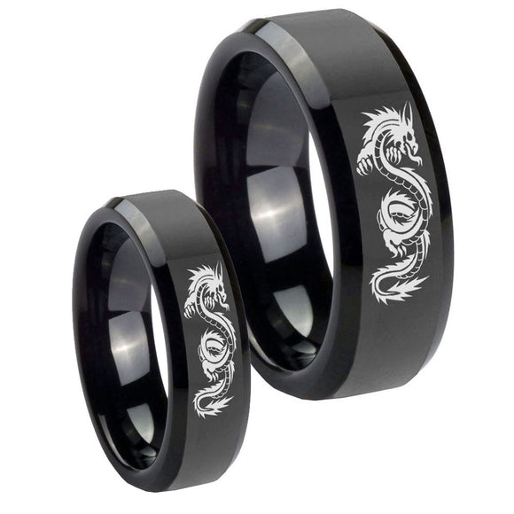 His and Hers Dragon Beveled Edges Black Tungsten Men's Wedding Band Set