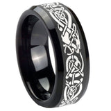 10mm Celtic Knot Dragon Beveled Edges Black Tungsten Carbide Mens Wedding Ring