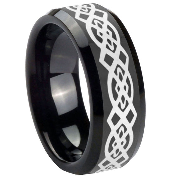 10mm Celtic Knot Beveled Edges Black Tungsten Carbide Men's Wedding Ring