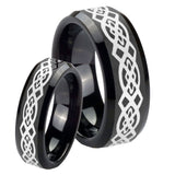 His and Hers Celtic Knot Beveled Edges Black Tungsten Engagement Ring Set