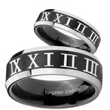 His Hers Roman Numeral Beveled Edges Brush Black 2 Tone Tungsten Engraved Ring Set