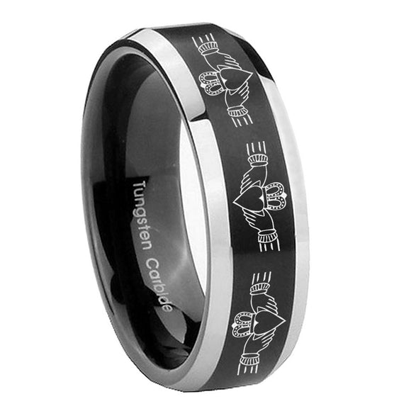 8mm Irish Claddagh Beveled Edges Brush Black 2 Tone Tungsten Men's Wedding Ring