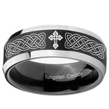 8mm Celtic Cross Beveled Edges Brush Black 2 Tone Tungsten Personalized Ring